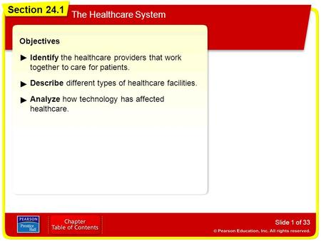 Section 24.1 The Healthcare System Slide 1 of 33 Objectives Identify the healthcare providers that work together to care for patients. Describe different.