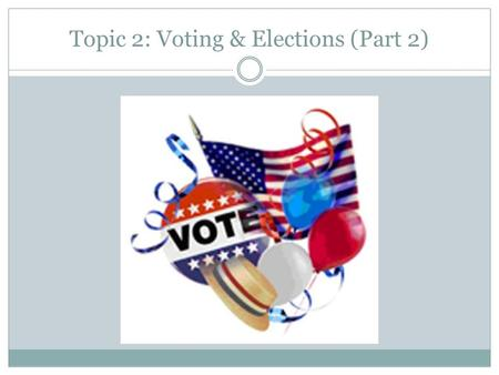 Topic 2: Voting & Elections (Part 2). Part 3: Nominations Why is the nominating process a critical first step in elections? Describe the self-announcement,