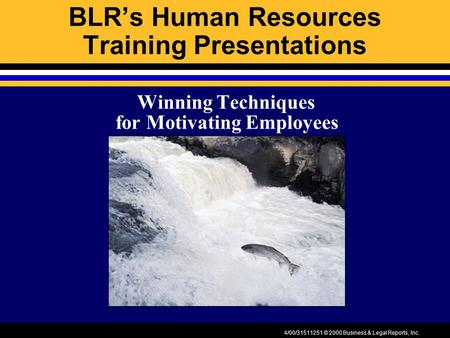 4/00/31511251 © 2000 Business & Legal Reports, Inc. BLR's Human Resources Training Presentations Winning Techniques for Motivating Employees.
