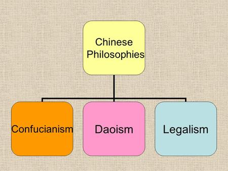 Chinese Philosophies ConfucianismDaoismLegalism. The Qin and Han Dynasty Reference pages 240-248.