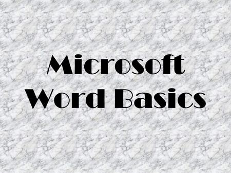 Microsoft Word Basics. Opening Screen Parts Title Bar Displays the name of the program and the current file Contains the Quick Access Toolbar Contains.