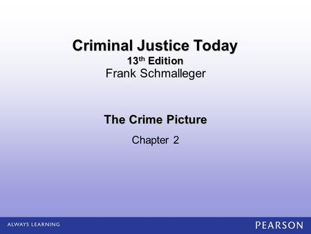 The Crime Picture Chapter 2 Frank Schmalleger Criminal Justice Today 13 th Edition.