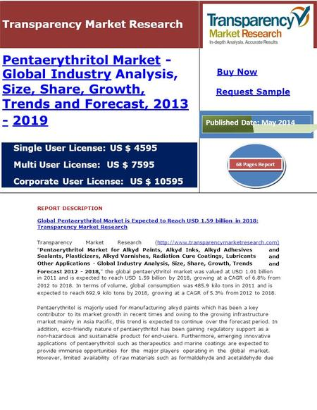 Transparency Market Research Pentaerythritol MarketPentaerythritol Market - Global IndustryGlobal Industry Analysis, Size, Share, Growth, Trends and Forecast,