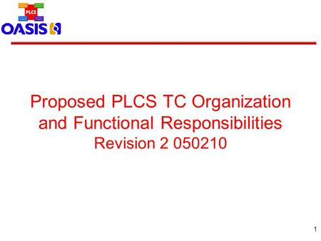 1 Proposed PLCS TC Organization and Functional Responsibilities Revision 2 050210.