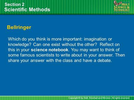 Scientific Methods Bellringer Section 2