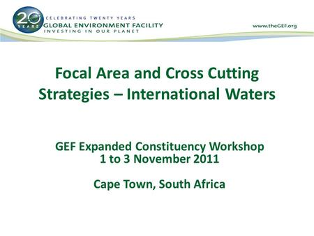Focal Area and Cross Cutting Strategies – International Waters GEF Expanded Constituency Workshop 1 to 3 November 2011 Cape Town, South Africa.
