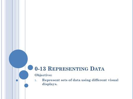 0-13 R EPRESENTING D ATA Objective: 1. Represent sets of data using different visual displays.