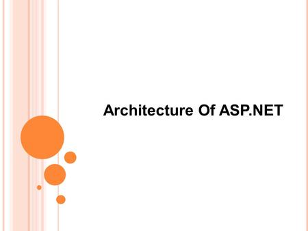 Architecture Of ASP.NET. What is ASP?  Server-side scripting technology.  Files containing HTML and scripting code.  Access via HTTP requests.  Scripting.