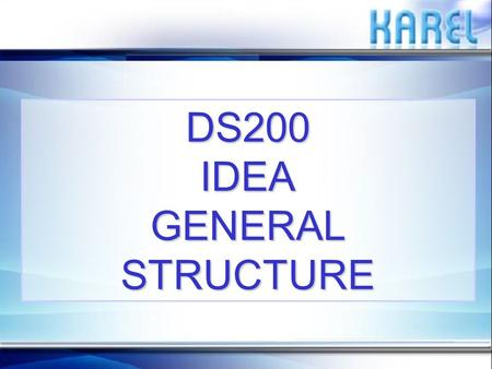 DS200 IDEA GENERAL STRUCTURE. PURPOSEPURPOSE The purpose of this presentation is to explain the setup and the use of DS200 IDEA application.