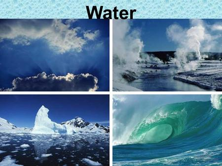 Water. Water three A water molecule (H 2 O), is made up of three atoms --- one oxygen and two hydrogen. H H O.