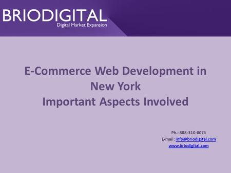 E-Commerce Web Development in New York Important Aspects Involved Ph.: 888-310-8074