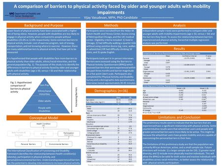 A comparison of barriers to physical activity faced by older and younger adults with mobility impairments ------------------------------ Vijay Vasudevan,