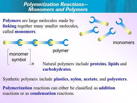 Polymers are large molecules made by linking together many smaller molecules, called monomers. Polymerization reactions can either be classified as addition.