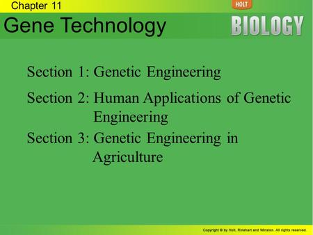 Gene Technology Section 1: Genetic Engineering