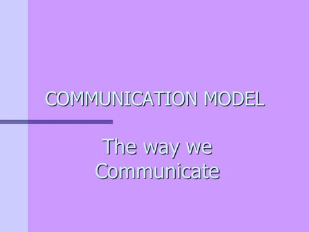 COMMUNICATION MODEL The way we Communicate What is Communication? The process of sending and reviewing messages to share meanings.