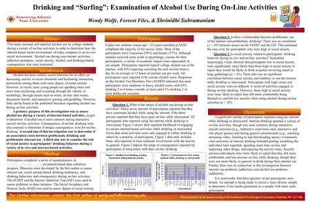 Wendy Wolfe, Forrest Files, & Shrinidhi Subramaniam Abstract Method This study assessed self-reported alcohol use by college students during a variety.