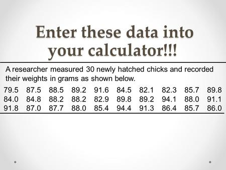 Enter these data into your calculator!!!