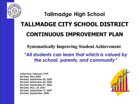 Tallmadge High School TALLMADGE CITY SCHOOL DISTRICT CONTINUOUS IMPROVEMENT PLAN Initial Plan: February 1999 Revised: May 2003 Revised: September 30, 2004.