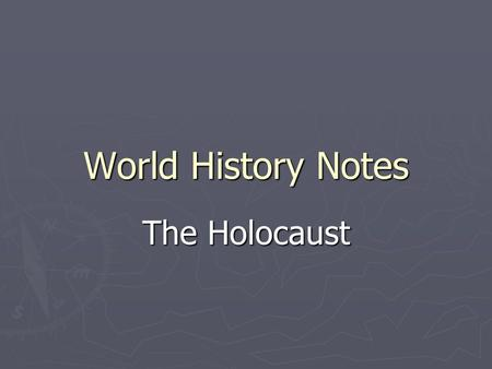 "World History Notes The Holocaust. I. ""The Jewish Question"" A. What do we do about this Jewish minority among us? B. In the Middle Ages 1.Convert them."