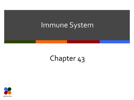 Immune System Chapter 43. Slide 2 of 39 2 Types of Immunity  2 major kinds of defenses have evolved to counter threats of viruses, bacteria, & other.