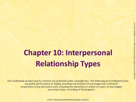 Chapter 10: Interpersonal Relationship Types