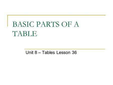BASIC PARTS OF A TABLE Unit 8 – Tables Lesson 36.