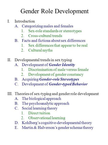 Gender Role Development I.Introduction A.Categorizing males and females 1.Sex-role standards or stereotypes 2.Cross-cultural trends B.Facts and fictions.