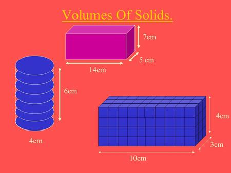 Volumes Of Solids. 7cm 5 cm 14cm 6cm 4cm 4cm 3cm 10cm.