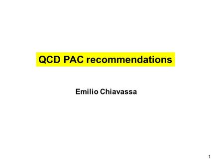 1 QCD PAC recommendations Emilio Chiavassa. 2 Charmonium spectroscopy QCD exotics Hypernuclear Physics Charm in Nuclei PANDA main goals.
