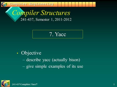 241-437 Compilers: Yacc/7 1 Compiler Structures Objective – –describe yacc (actually bison) – –give simple examples of its use 241-437, Semester 1, 2011-2012.