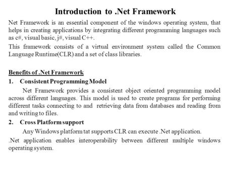 Introduction to .Net Framework