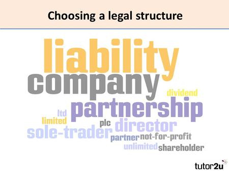Choosing a legal structure. What this topic is all about There are several choices of business structure for a start-up Setting up a new business is a.