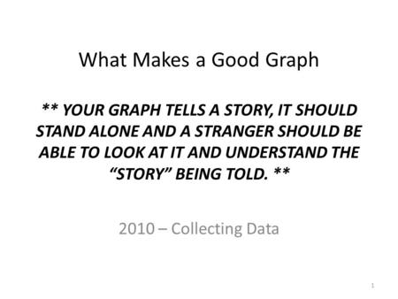 "What Makes a Good Graph ** YOUR GRAPH TELLS A STORY, IT SHOULD STAND ALONE AND A STRANGER SHOULD BE ABLE TO LOOK AT IT AND UNDERSTAND THE ""STORY"" BEING."