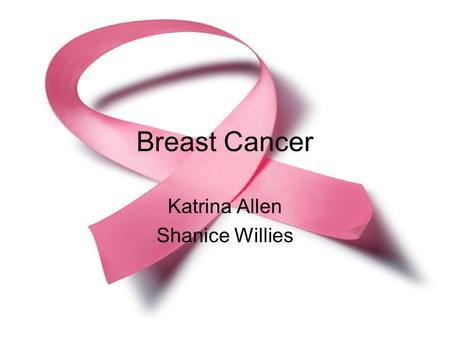 Breast Cancer Katrina Allen Shanice Willies. What is Breast Cancer? Maligment tumor in breast Starts in lining of ducts.