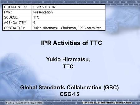 Global Standards Collaboration (GSC) GSC-15