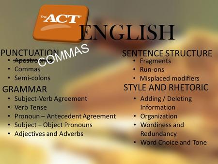 ENGLISH PUNCTUATION Apostrophes Commas Semi-colons GRAMMAR Subject-Verb Agreement Verb Tense Pronoun – Antecedent Agreement Subject – Object Pronouns Adjectives.