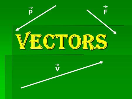 VECTORS v Fp Scalar quantities – that can be completely described by a number with the appropriate units. ( They have magnitude only. ) Such as length,