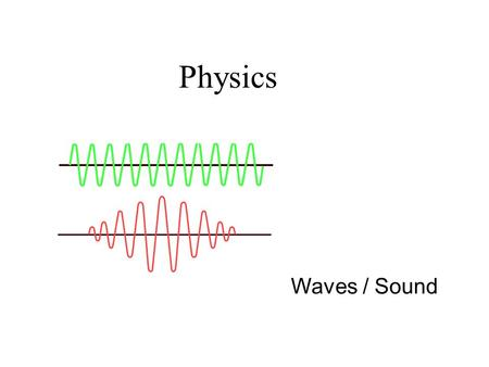 Waves / Sound Physics. Waves Wave motion is the means of transferring energy through a medium without the material itself moving along with the energy.