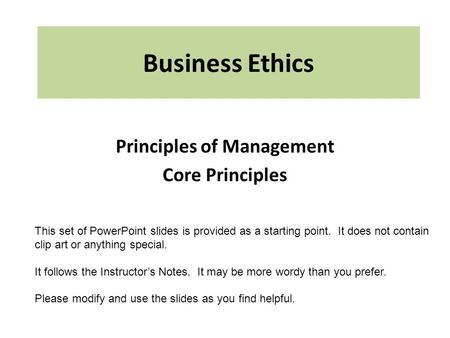 Principles of Management Core Principles