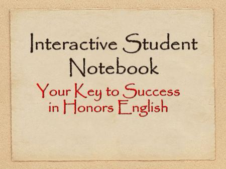 Interactive Student Notebook Your Key to Success in Honors English.