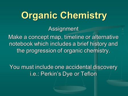 Organic Chemistry Assignment Make a concept map, timeline or alternative notebook which includes a brief history <strong>and</strong> the progression of organic chemistry.
