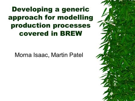 Developing a generic approach for modelling production processes covered in BREW Morna Isaac, Martin Patel.