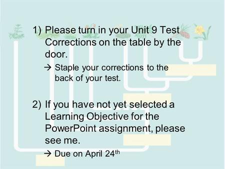 1)Please turn in your Unit 9 Test Corrections on the table by the door.  Staple your corrections to the back of your test. 2)If you have not yet selected.