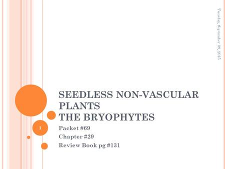 SEEDLESS NON-VASCULAR PLANTS THE BRYOPHYTES Packet #69 Chapter #29 Review Book pg #131 Tuesday, September 08, 2015 1.