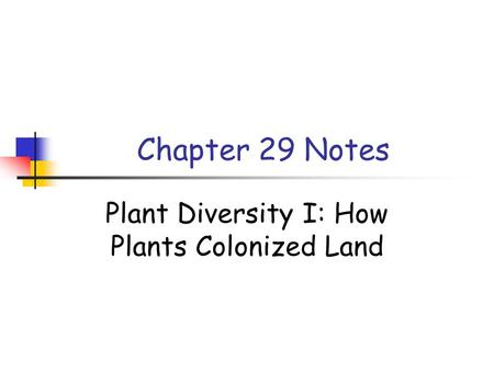 Chapter 29 Notes Plant Diversity I: How Plants Colonized Land.
