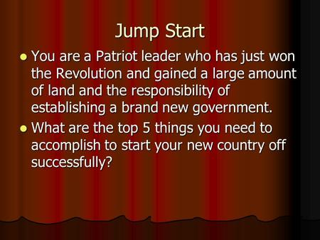 Jump Start You are a Patriot leader who has just won the Revolution and gained a large amount of land and the responsibility of establishing a brand new.