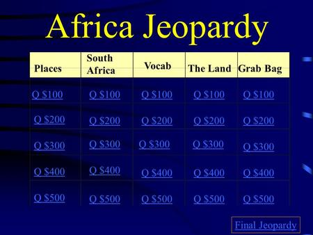 Africa Jeopardy Places South Africa Vocab The LandGrab Bag Q $100 Q $200 Q $300 Q $400 Q $500 Q $100 Q $200 Q $300 Q $400 Q $500 Final Jeopardy.