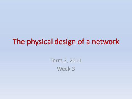 Term 2, 2011 Week 3. CONTENTS The physical design of a network Network diagrams People who develop and support networks Developing a network Supporting.