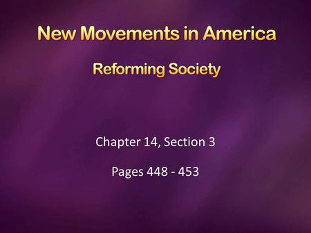 Chapter 14, Section 3 Pages 448 - 453. Along with the changes in American culture, changes were also taking place in American society. A religious revival.