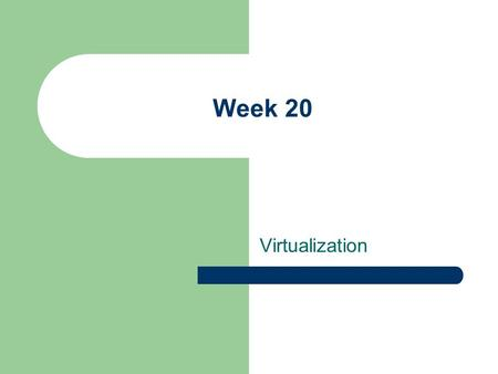 Virtualization Week 20. This week Virtualization – What is it? – Software on different operating systems? Group Presentations – 10-15 minutes per group.